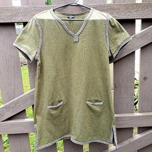 Hannah Brand Size L Olive Green Tunic Short Sleeve